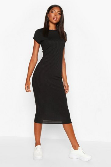 Black Tall Cap Sleeve Rib Bodycon Dress