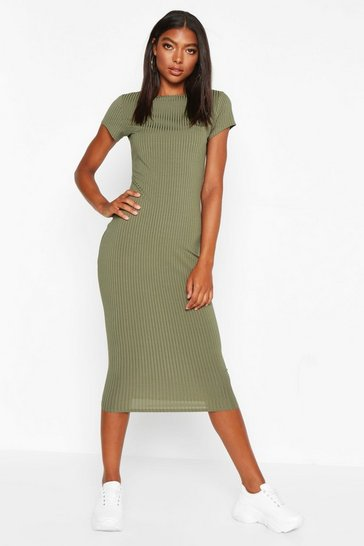 Khaki Tall Cap Sleeve Rib Bodycon Dress