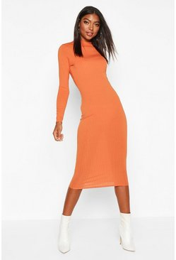 Womens Rust Tall Ribbed High Neck Long Sleeve Midi Dress