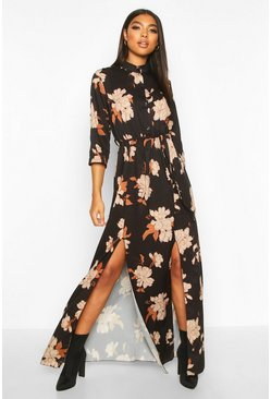 Womens Black Tall Floral Print Maxi Shirt Dress