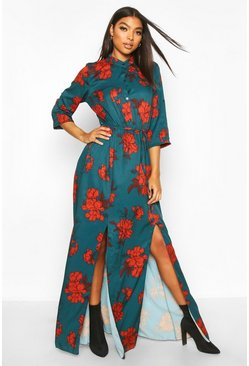 Teal Tall Floral Print Maxi Shirt Dress
