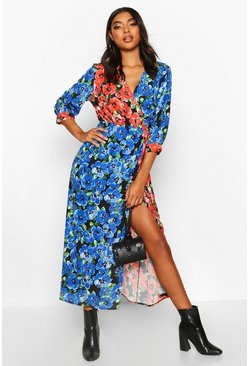 Womens Red Tall Mixed Floral Wrap Midi Dress