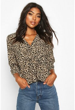 Womens Brown Tall Leopard Print Wrap Peplum Blouse