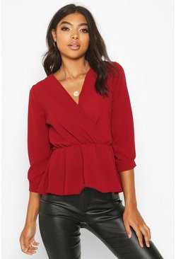 Womens Berry Tall Wrap Peplum Blouse