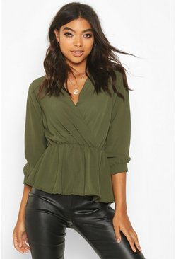 Womens Khaki Tall Wrap Peplum Blouse
