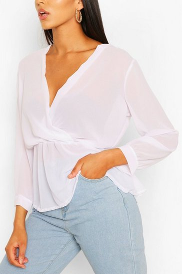 White Tall Wrap Peplum Blouse
