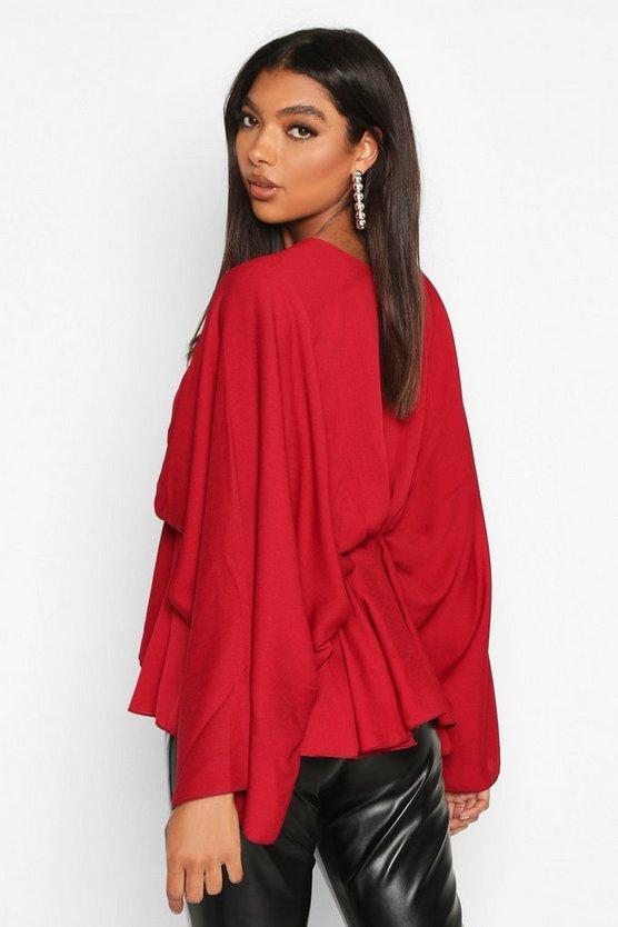 Tall Kimono Sleeve Peplum Blouse