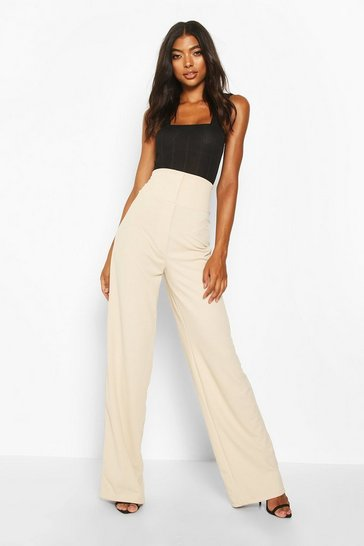 Stone Tall Super High Waisted Wide Leg Trousers