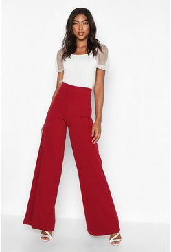 Womens Wine Tall Wide Leg Woven Trousers