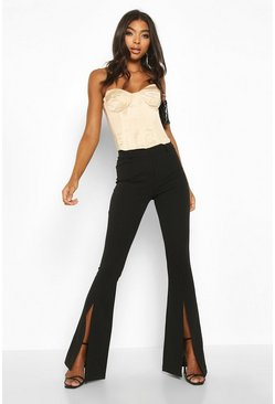 Womens Black Tall Split Front Woven Flares