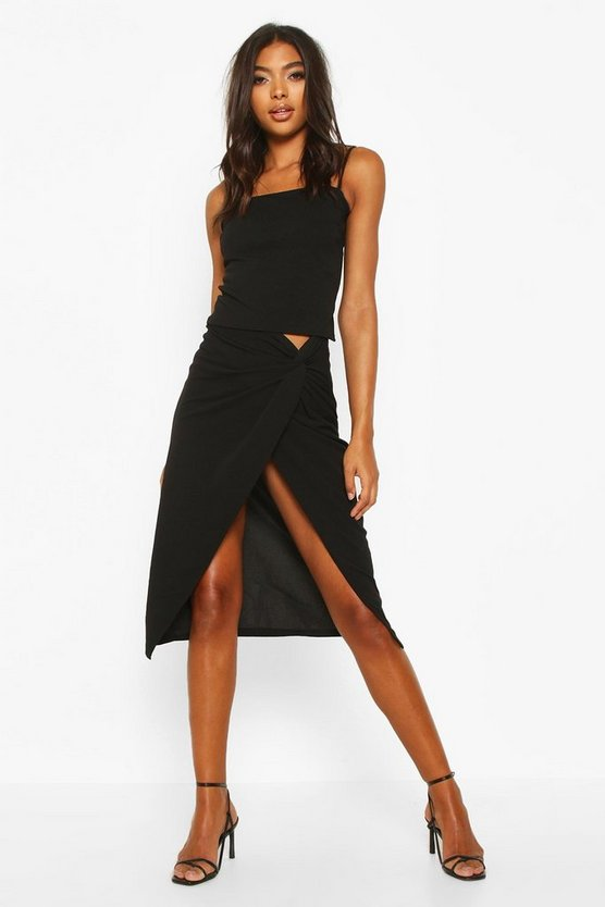 Black Tall Knot Front Woven Midi Skirt