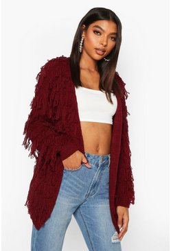 Berry Tall Fringe Cardigan