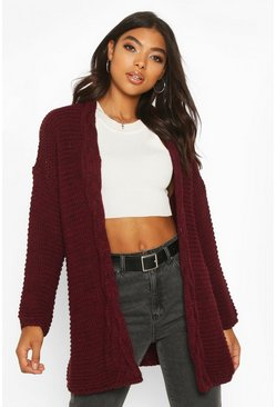 Womens Berry Tall Cable Chunky Cardigan