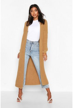 Womens Camel Tall Soft Knit Maxi Cardigan