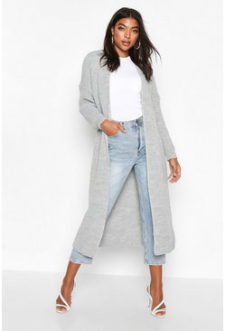 Womens Grey Tall Soft Knit Maxi Cardigan