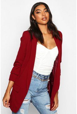 Womens Berry Tall Ruched Sleeve Blazer