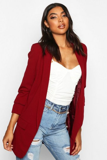 Berry Tall Ruched Sleeve Blazer