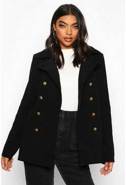 Black Tall Military Button Wool Look Coat