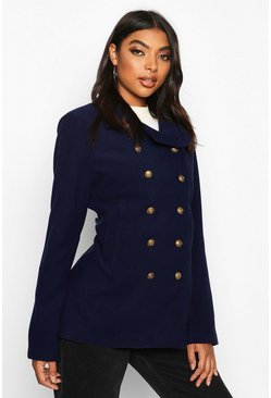 Navy Tall Military Button Wool Look Coat