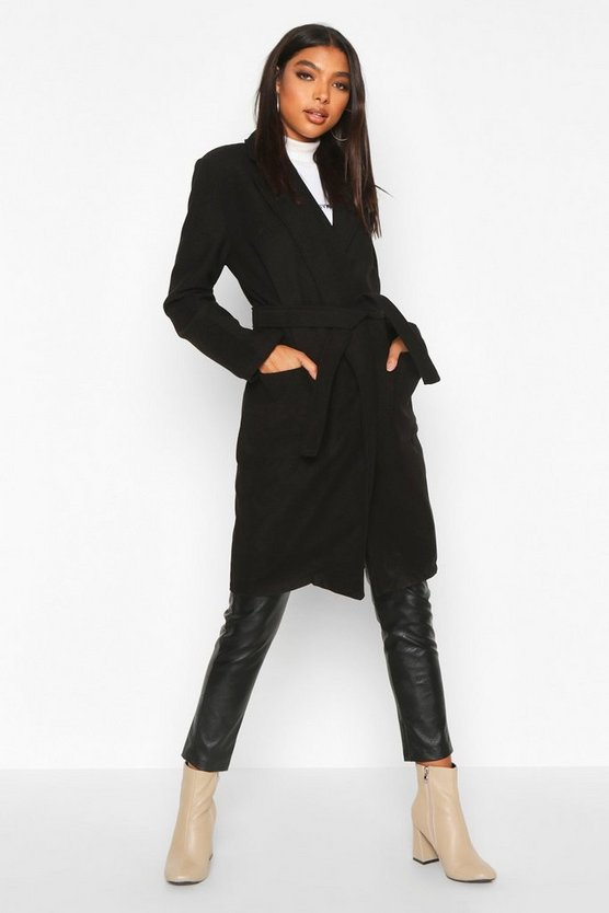 Womens Black Tall Belted Wool Look Coat