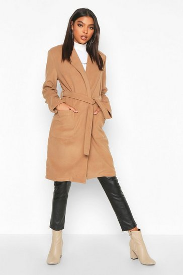 Womens Camel Tall Belted Wool Look Coat