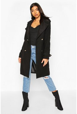 Black Tall Military Double Breasted Wool Look Coat