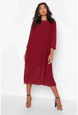 Robe Midi plissée tissée Tall, Fruits rouges, Femme