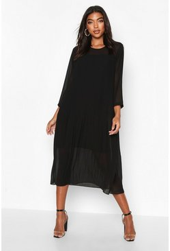 Black Tall Pleated Woven Midi Dress