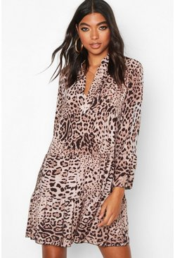 Womens Tall Leopard Print Tiered Smock Dress