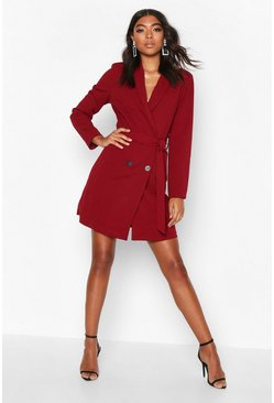 Womens Berry Tall Belted Blazer Dress