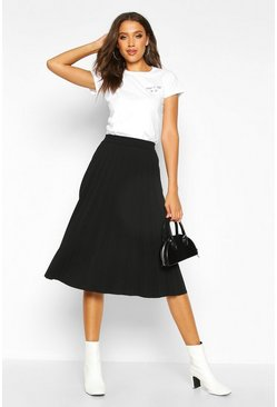 Black Tall Pleated Midi Skirt