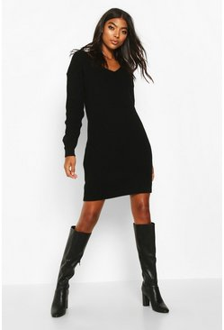 Black Tall V-Neck Jumper Dress