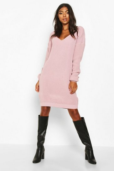 Mauve Tall V-Neck Jumper Dress