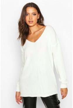 Womens Cream Tall V-Neck Jumper