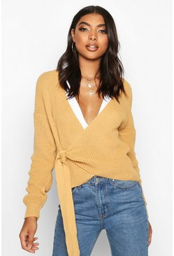 Camel Tall Blouson Sleeve Wrap Cardigan