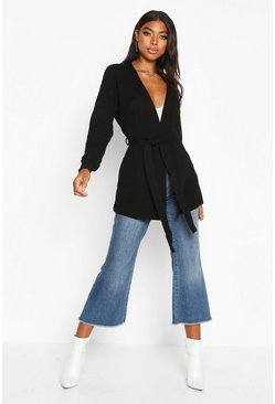 Black Tall Belted Edge to Edge Cardigan