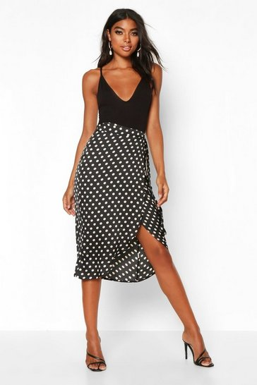 Black Tall Satin Polka Dot Print Wrap Skirt