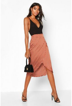 Womens Rust Tall Satin Polka Dot Print Wrap Skirt