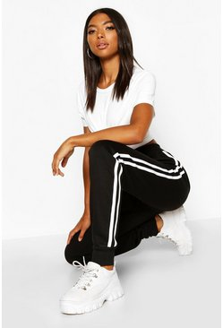 Womens Black Tall Side Stripe Joggers
