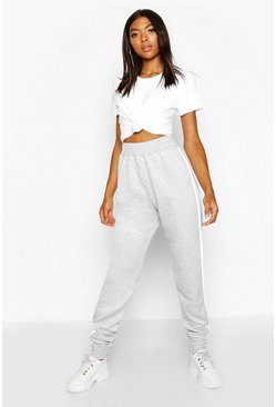 Womens Grey Tall Side Stripe Joggers
