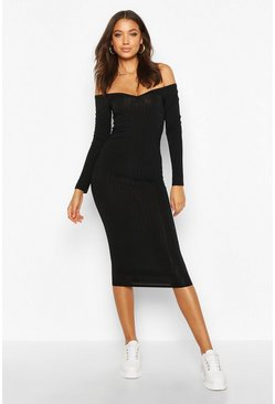 Black Tall Rib V-Neck Off The Shoulder Midi Dress