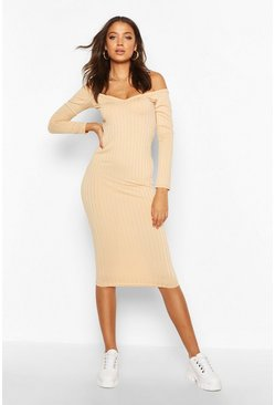 Womens Stone Tall Rib V-Neck Off The Shoulder Midi Dress