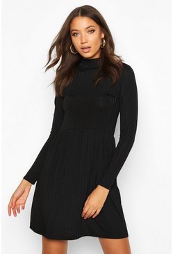 Black Tall Rib High Neck Smock Dress