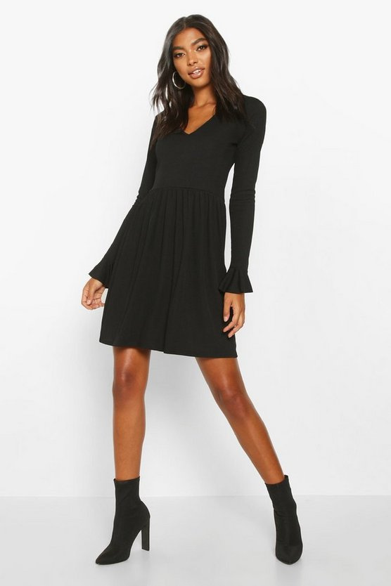 Black Tall Rib Plunge Frill Sleeve Smock Dress