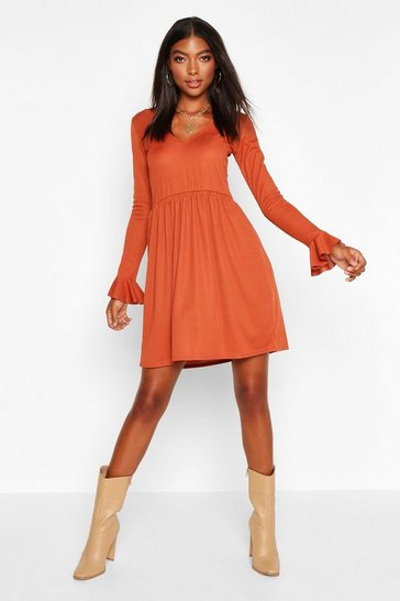 Rust Tall Rib Plunge Frill Sleeve Smock Dress