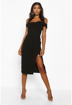 Womens Black Tall Off The Shoulder Midi Dress