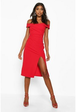 Red Tall Off The Shoulder Midi Dress