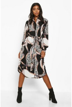 Black Tall Chain Print Midi Shirt Dress