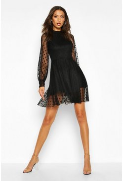 Womens Black Tall Dobby Mesh Skater Dress