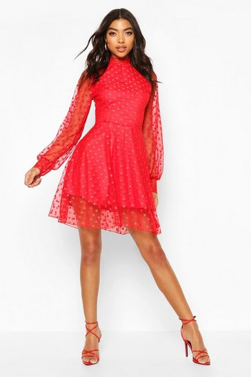 Red Tall Dobby Mesh Skater Dress